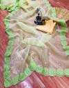 Parrot green color organza silk saree with embroidery sequence work