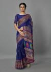 Navy blue color jute silk saree with printed work