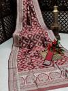 Maroon color banarasi silk saree with silver zari weaving work