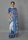 Firoji color manipuri silk saree with printed and weaving work