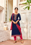 Blue and red color cotton dress material with embroidery work