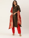 Black & red color jacquard Weaving dress material