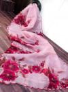Pink color organza saree with digital print & handwork
