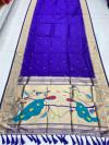 Purple color kanchipuram silk saree with zari weaving work