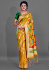 Yellow color cotton silk saree with weaving work