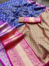 Royal blue color kanchipuram silk saree with zari woven work