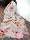 White color organza saree with digital print & handwork