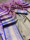 Purple color kanchipuram silk saree with zari woven work