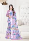 Pink color linen satin saree with satin patta