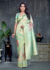 Pista green color smart silk saree with weaving border