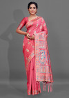 Pink color cotton silk saree with weaving work