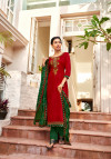 Red and green color cotton satin dress material