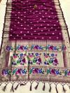 Magenta color lichi silk saree with golden zari weaving work