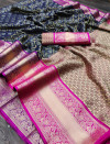 Navy blue color kanchipuram silk saree with zari woven work