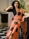 Peach color malmal linen cotton saree with digital printed work