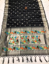 Black color lichi silk saree with golden zari weaving work