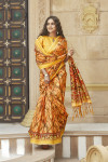 Multi color soft cotton silk saree with printed work