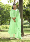 Green color cotton with sequence dress material