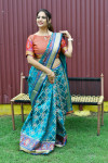 Rama green color patola silk saree with jequard weaving work