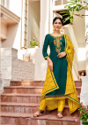 Green and yellow color cotton unstitched dress material