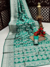 Rama green color banarasi silk saree with silver zari weaving work