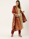 Beige & maroon color Silk blend dress material