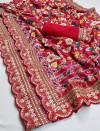 Red color pure kumari silk saree with digital printed work
