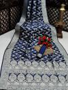 Navy blue color banarasi silk saree with silver zari weaving work