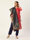 Pink & navy blue color silk blend dress material