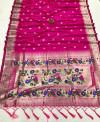 Pink color lichi silk saree with golden zari weaving work