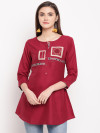Maroon color rayon kurti with embroidery printed work