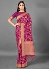 Magenta color cotton silk saree with weaving work