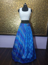 Blue color taffeta silk lehenga with digital print work