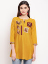 Mustard yellow color rayon kurti with embroidery and printed work