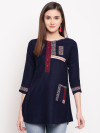 Navy blue color rayon kurti with embroidery and printed work