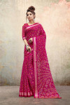 Pink color soft linen silk saree with printed work
