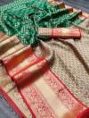 Green color kanchipuram silk saree with zari woven work
