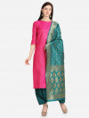 Pink & sea green color unstitched weaving dress material