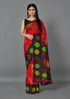Red color patola silk saree with printed work