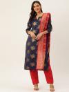 Navy blue & red color zari woven silk blend dress material