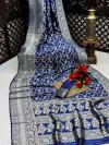 Blue color banarasi silk saree with silver zari weaving work