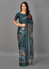 Gray color manipuri silk saree with printed and weaving work