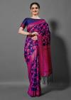 Navy blue color silk blend saree with  zari woven work
