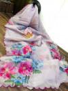 Baby pink color organza saree with digital print & handwork