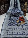Nevy blue color banarasi silk saree with silver zari weaving work