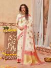 White color cotton jacquard silk saree with weaving work