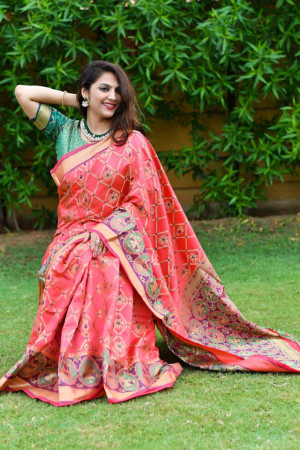 Red color patola silk saree with jequard weaving work