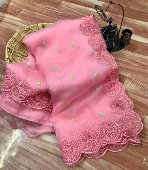 Pink color organza silk saree with embroidery sequence work