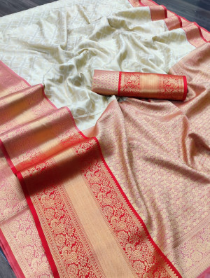 White color kanchipuram silk saree with zari woven work
