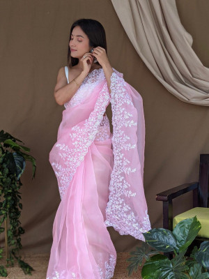 Baby pink color organza saree with threads & sequence work